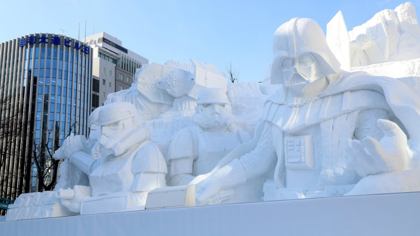 This majestic snow sculpture of Star Wars could only be in place … yes, in Japan